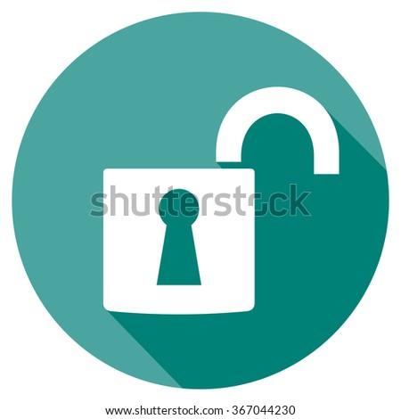 open padlock flat icon - stock vector
