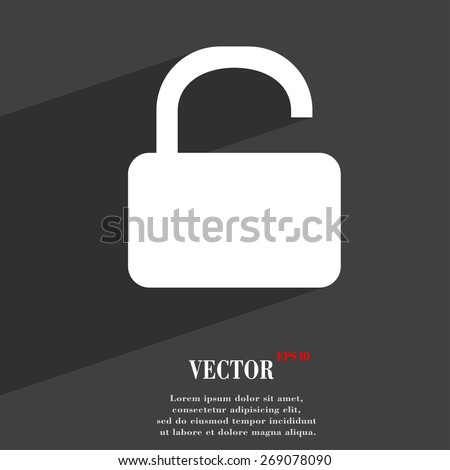 Open Padlock  icon symbol Flat modern web design with long shadow and space for your text. Vector illustration - stock vector