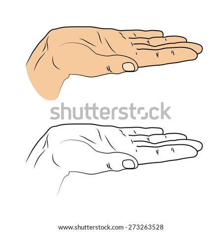 Open palm. Insulated black outline and colored cropped hand on a white background. Gesture to give. Good for design submission, to represent something. - stock vector