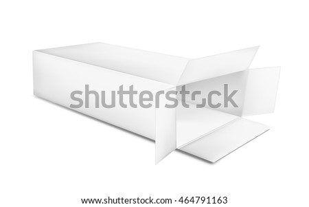 Open paper box on white background.