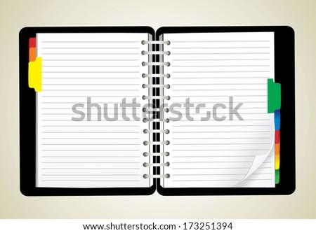 open personal organizer - stock vector