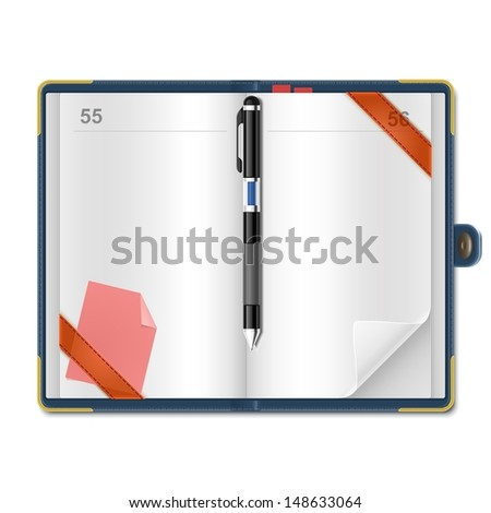 open personal organizer Vector xxl - stock vector