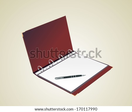 Open personal organizer, with pen - stock vector