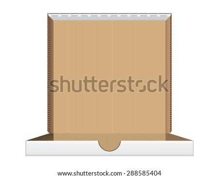 Open pizza box front view, vector illustration - stock vector