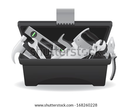 open plastic tool box vector illustration isolated on white background - stock vector