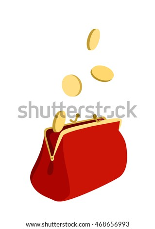 Open purse with golden coins falling in it cartoon flat style vector illustration