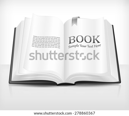 Open realistic book with text on white, vector illustration