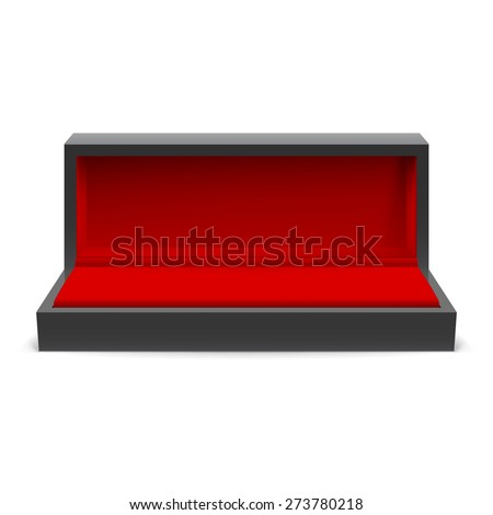 Open rectangular box for jewelry with a red interior on a white background - stock vector
