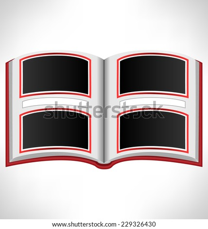 Open red book with photo frames and space for text on grayscale background - stock vector