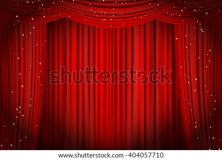 Open red curtains with glitter opera or theater background. vector - stock vector