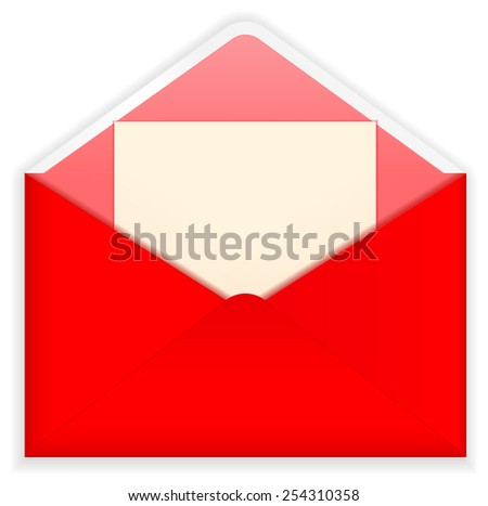 Open red envelope with paper - vector drawing isolated.