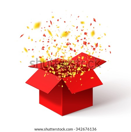Open red gift box confetti christmas 342676136 open red gift box and confetti christmas background vector illustration negle Choice Image