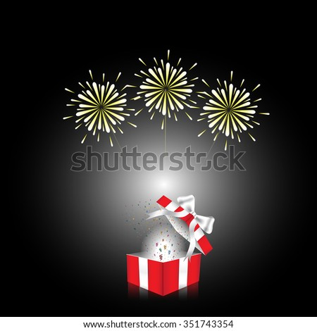 Open red gift box white ribbon with firework