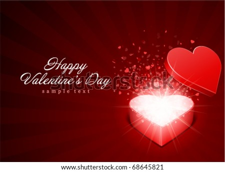 Open red gift present as heart with fly hearts Valentine's day vector background
