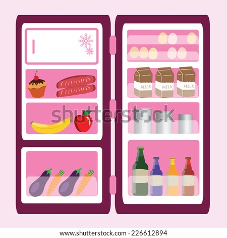open refrigerator with foods and drinks.  vector illustration - stock vector