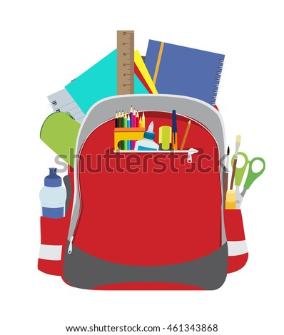 Open school backpack with school supplies in it flat vector illustration.