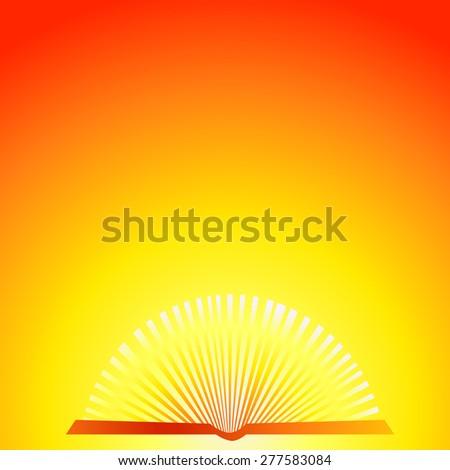 Open shining book. Vector - stock vector