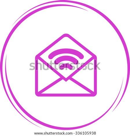 open sound mail. Internet button. Vector icon. - stock vector