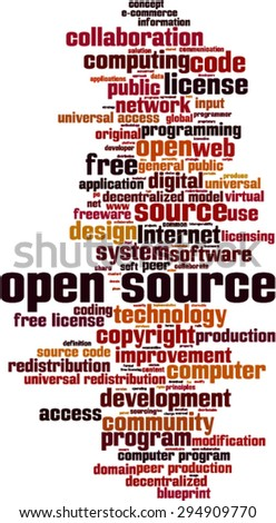 Open source word cloud concept. Vector illustration