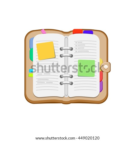 Open spiral diary, notebook or personal organizer. Notepad with stickers, bookmark. Vector icon isolated on a white background.  - stock vector