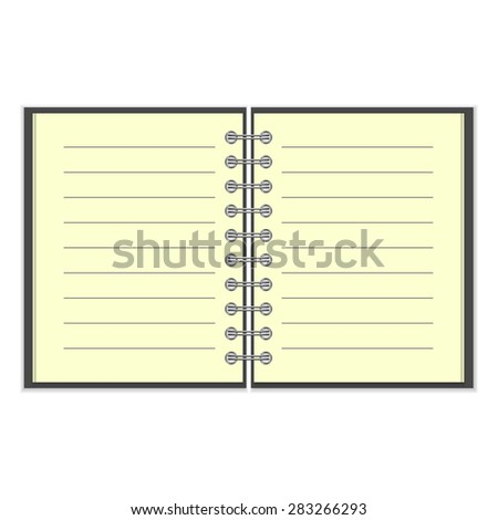 Open spiral lined notebook with black cover isolated on white background