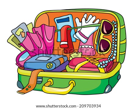 open suitcase, vector illustration on white background - stock vector