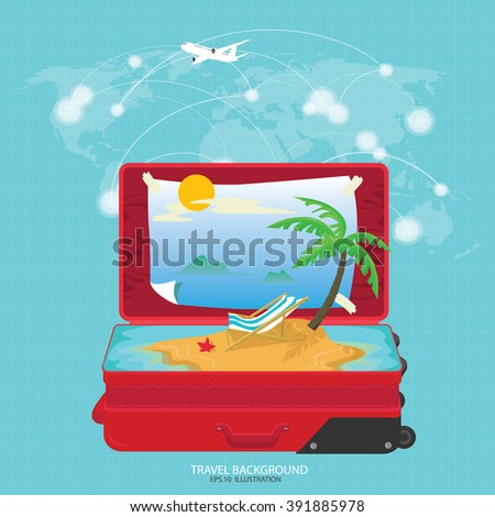 Open suitcase with a tropical island inside on a world map background - stock vector