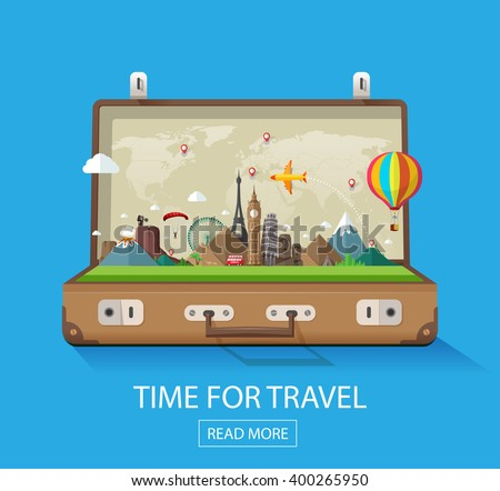 Open suitcase with landmarks on a blue background. Modern flat design. Travel and tourism. - stock vector
