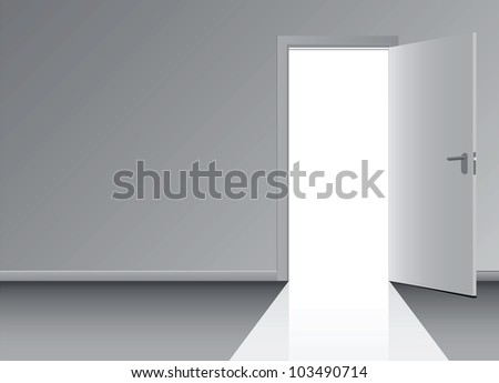 Open the door to the doorway. Vector illustration. - stock vector
