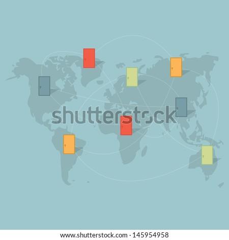 Open the door to the world - stock vector