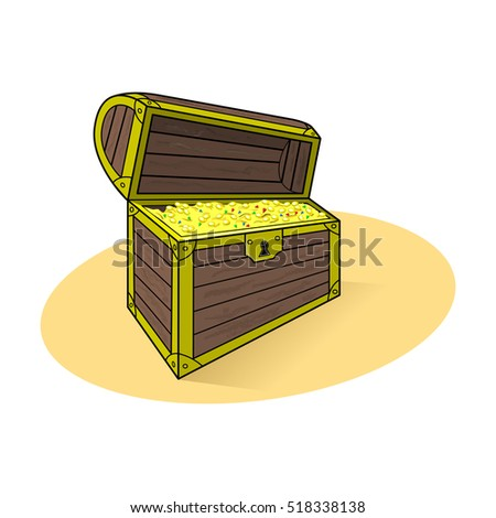 Open treasure chest with gold coins and precious stones