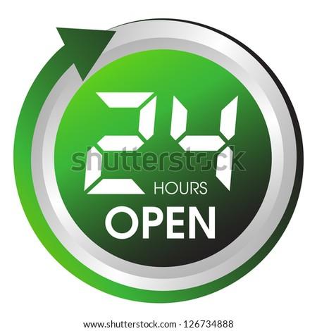 Open twenty four hours button. - stock vector