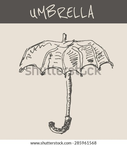 Open umbrella with handle , in engraving etching sketch hand drawing style, for meteorology and protection concept design