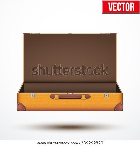 Open Vintage leather travel Suitcase. Vector Illustration isolated on white background. - stock vector