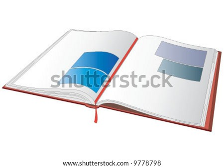 Open volume with the white pages - stock vector