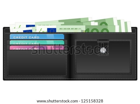 Open wallet with euro banknotes and credit cards. Vector illustration..