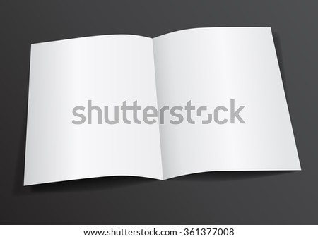 Open White Blank Folded A4-A5 Flyer for Mock up - Vector Illustration