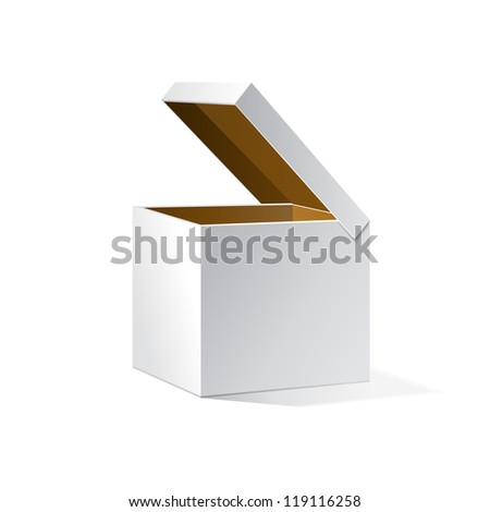 Open White Cardboard Carton Gift Box, Brown Inside. Illustration Isolated On White Background. Vector EPS10 - stock vector