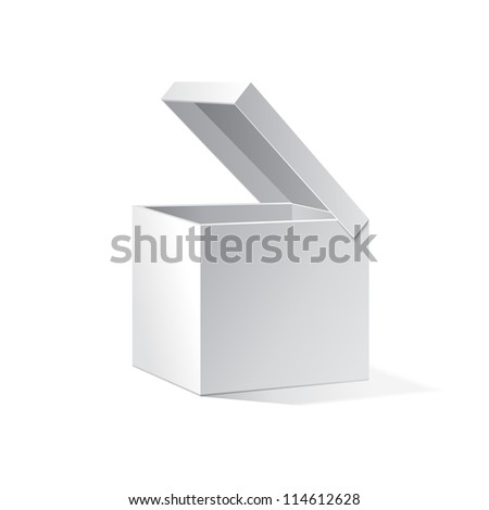 Open White Cardboard Carton Gift Box. Illustration Isolated On White Background. Vector EPS10