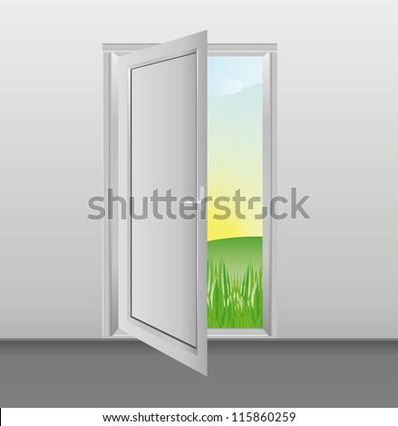 Open White Doors Glass Panels Into Stock Vector 115860259 Shutterstock