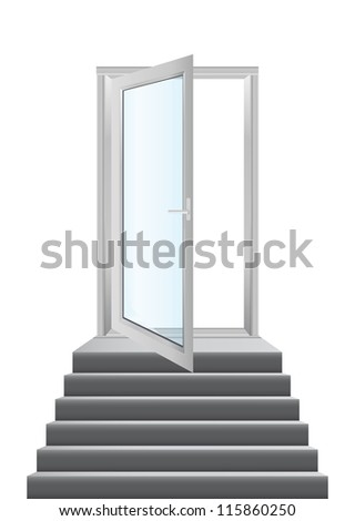 Open white doors with glass panels with stairs - stock vector
