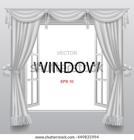 Open white double window with classic blinds and transparent glass. Vector illustration  - stock vector