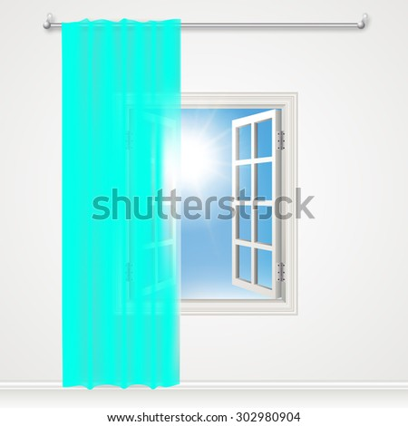 Open window and teal, aqua curtains