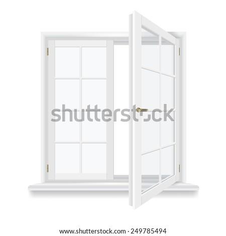 open window isolated, detailed vector illustration - stock vector