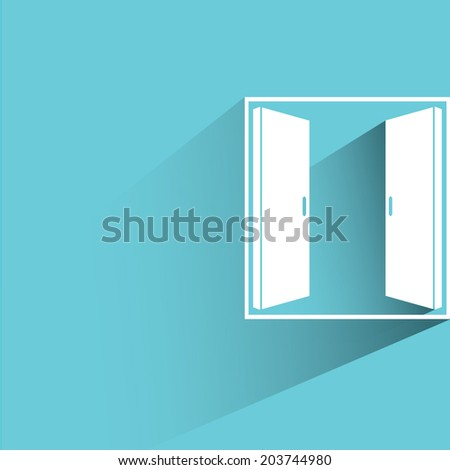 open window, opportunity concept, blue background, flat and shadow theme - stock vector