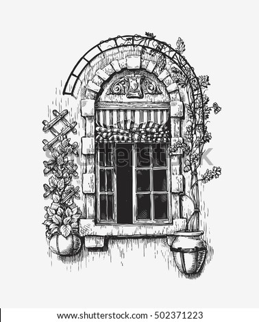 Open Window Sketch Vintage Vector Illustration