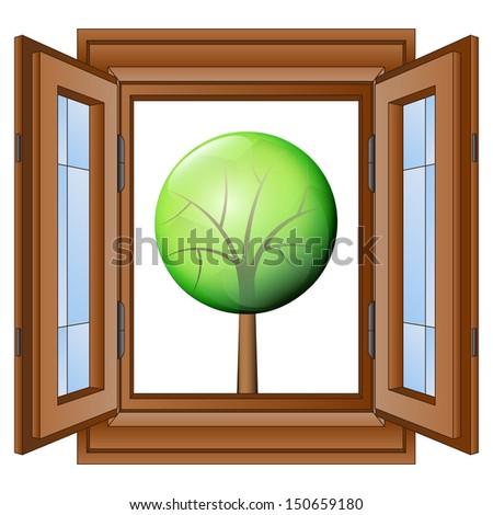 open window to nature exploring vector illustration