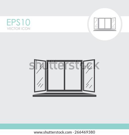 Open window vector icon. - stock vector