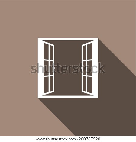 Open window with flat long shadow. Vector illustration. - stock vector