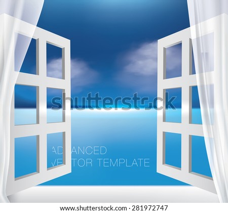 Open window with great ocean view on clear sunny day,